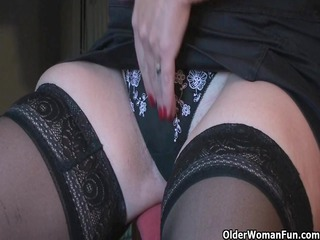 old pleasure pleases with her sex device