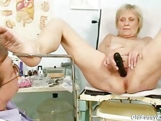 ancient granny brigita obtaining kitty exam from