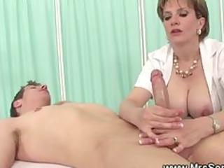 lady gives explosive oily handjob