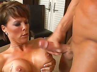 horny brunette mature chick with big bossom