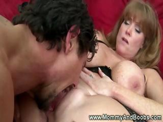 big boobed milf into stockings acquires drilled