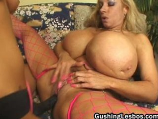 grownup lesbo slut takes banged with plastic cock