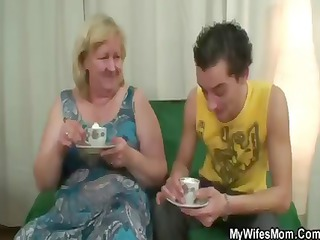 plump albino elderly has tea and acquires nailed