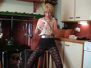 italian albino mature does a striptease and