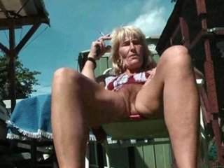 shaggy older smoker flashes her cave and ass