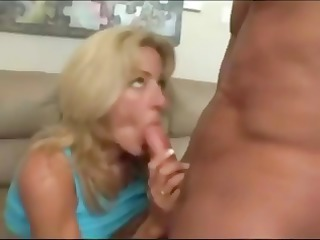 hot horny blonde mom with fake large boobs eats