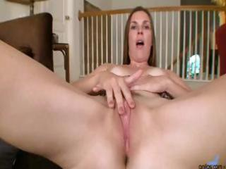 grown-up milf is rubbing her pussy and stuffing