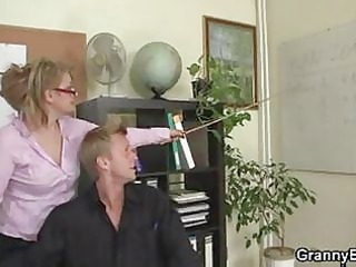 cougar workplace boss forces him drill her hard