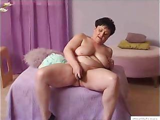 55 years old mariska masturbates at home