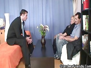 hunk and old male shares grannys mouth and cave