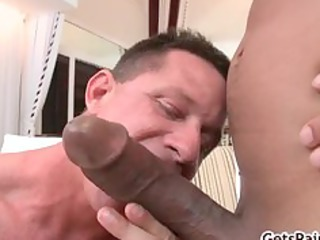 mature muscle guy tasting ebony penis part5
