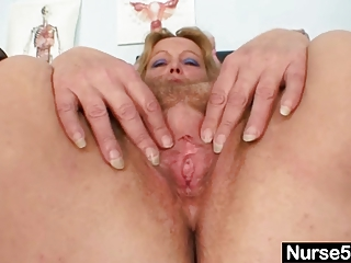 filthy grown-up girl vibrators her hirsute pussy