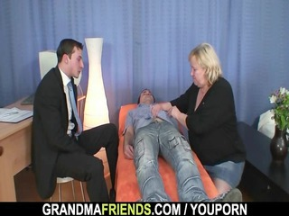 granny gives twofold cock sucking later