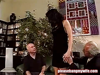 dirty slut having pleasure with two old men