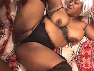 ebony heavy mature bitch enjoys two