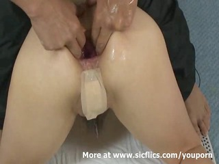 fisting the wifes bottom and extreme ass pumping