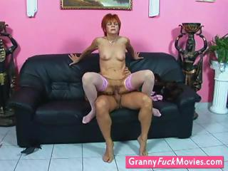 grandmother into stockings gets pierced
