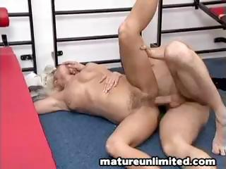 blond old gets pierced uneasy all over the