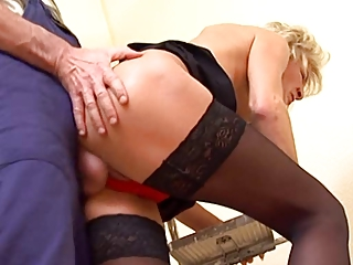 thin pale grown-up into nylons gang-bangs the