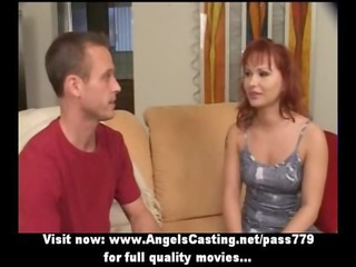 red-haired angel as bride does cock licking for