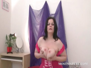 bbw grownup bitch works figure with vibrator