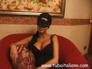 brunette european housewife into a mask acquires