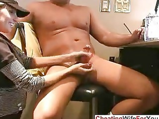 inexperienced home housewife giving handjob