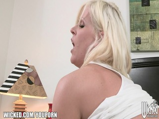 big-tit blond older picks up a young stud to lick