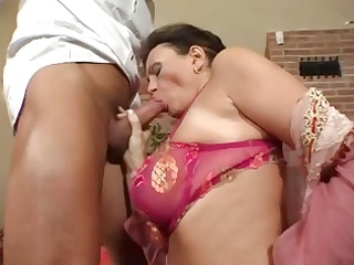 horny older german brunette has big real tits and