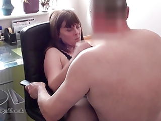 european woman performs on webcam