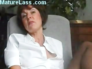 hot english older talks filthy and spreads foot
