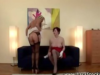 bleached homosexual babe in nylons eats mature