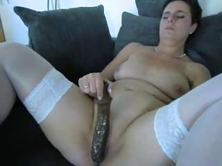 older amateur with a large vibrator
