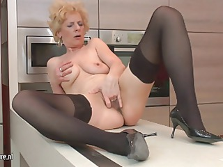 ugly mature bitch likes to masturbate into her