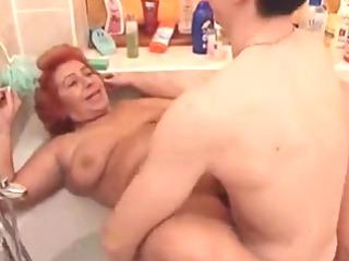 big awesome girl granny bang into the tub