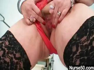 horny cougar albino doctor gives herself an exam