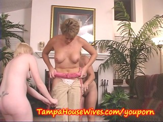 2 mature babes teach a inexperienced housewife to