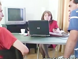 granny slut tugging cocks inside the bureau