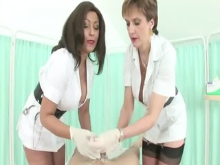 femdom like grown-up nurses give handjob