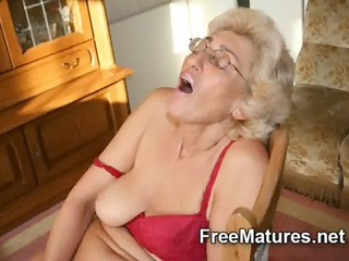 grandmom inside stockings pushing dildo with