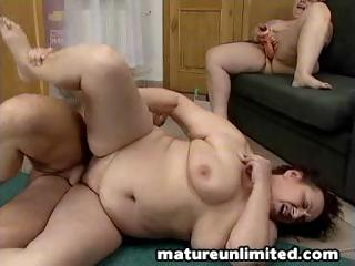 two chubby grown-up beauties sharing lone guy`s