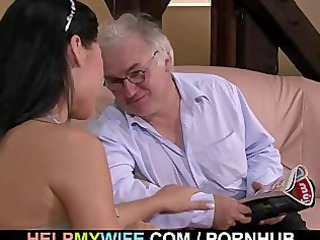 granny hubby watches his lovely babe copulate