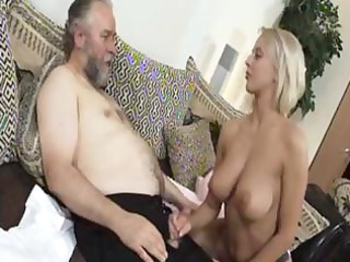 mature blond mandy dee bounces her huge bossom as