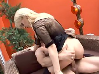 horny pale lady has fuck in thigh high stockings