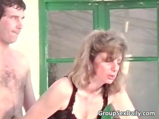 two busty mature duos are gang-banging
