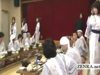 subtitled japanese ladies bunch foreplay dining