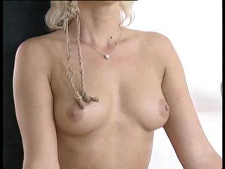 blonde maiden takes tied up and bent over to get