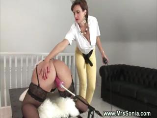 cougar mistress acquires control over dildo