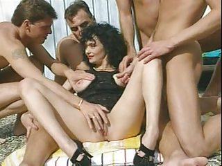 veronique - brown haired milf with 4 guys by