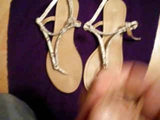 cumshots on lady sandal